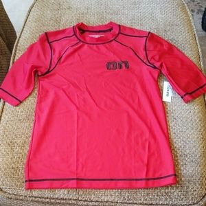 New Boys Red/Black Short Sleeve Rash Guard